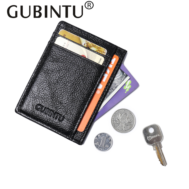 GUBINTU Genuine Leather Wallet Credit Card Holder Mini Wallet Purse Men Leather Purse Wallets Men Carteira Male High Quality