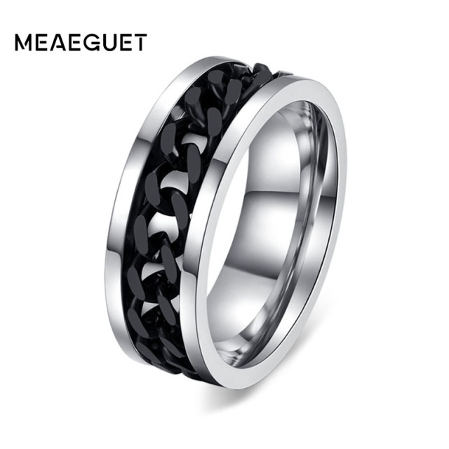 Meaeguet Fashion Men's Ring The Punk Rock Accessories Stainless Steel Black Chai