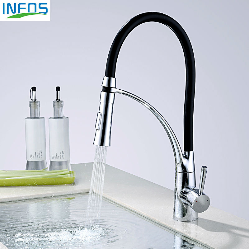 INFOS Brass Pull Out Spray Rotary Kitchen Faucets Black Deck Mounted Hot And Cold Water Sink Mixer Tap Pb free IFD003