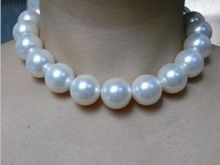 noble women gift 17INCH GOLD CLASP HUGE 12-13mm Australian south sea white pearl necklace