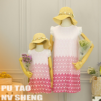 Mother Daughter Dresses Polka Dot Lace Mommy and Me Matching Outfits Clothes Mom and Daughter Dress Family T Shirt Dress