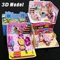 3D crianças enigma brinquedos Da Cozinha Quarto Banheiro sala de papel kit modelo de construção brinquedos presente para as crianças meninas