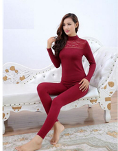 2016 New Arrive Women's Slim Thermal Underwears V-neck Lace Warm Long Johns ladies Body Shaped Sexy Underwear Sets