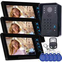 New High sensitivity touch keys RFID reader wired video door intercom IR camera video doorbell 3 monitor with Remote Control