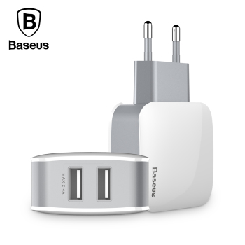 Baseus 2 USB EU Charger Plug For Samsung Huawei Xiaomi Dual USB Port Travel Wall Charger Mobile Phone USB Charger Adapter 5V2.4A