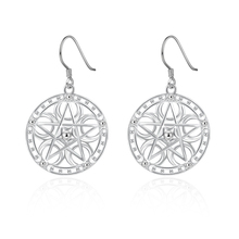 Promotion 925 solid lady retro women silver color earrings charms cute nice fashion classic jewelry wedding gift