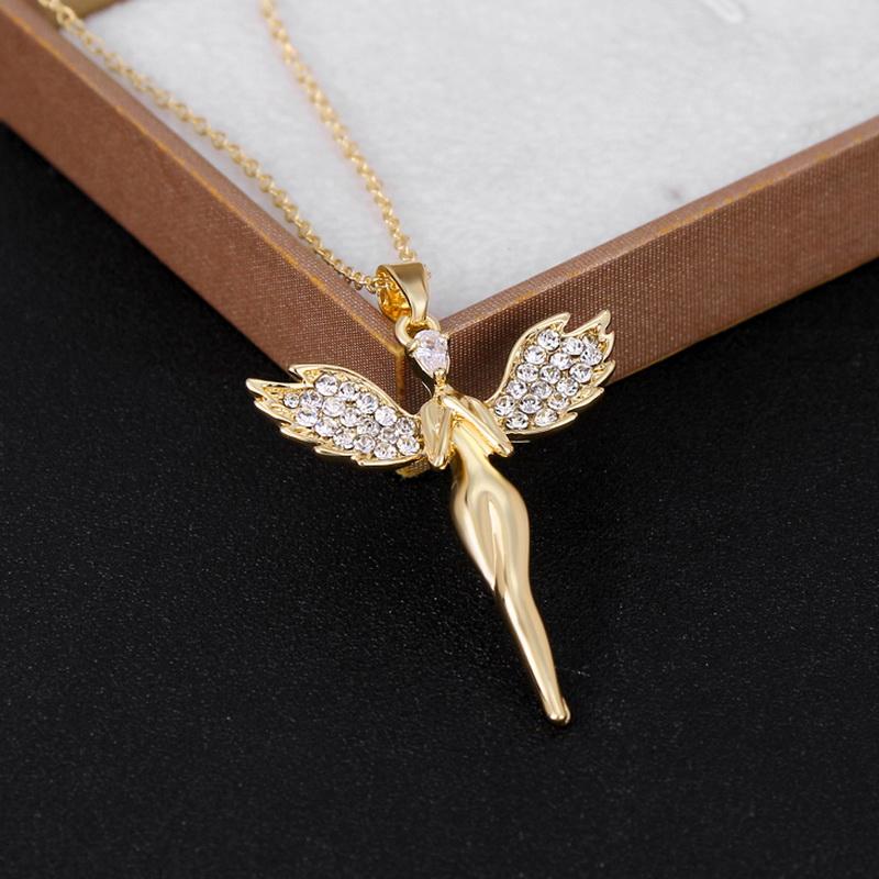 Women Fashion angel wing cross pendant necklace
