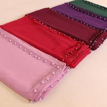 square scarf plain bubble chiffon shawls with pearl fashion muslin hijabs neckerchief head wrap shawl scarves/scarf retail
