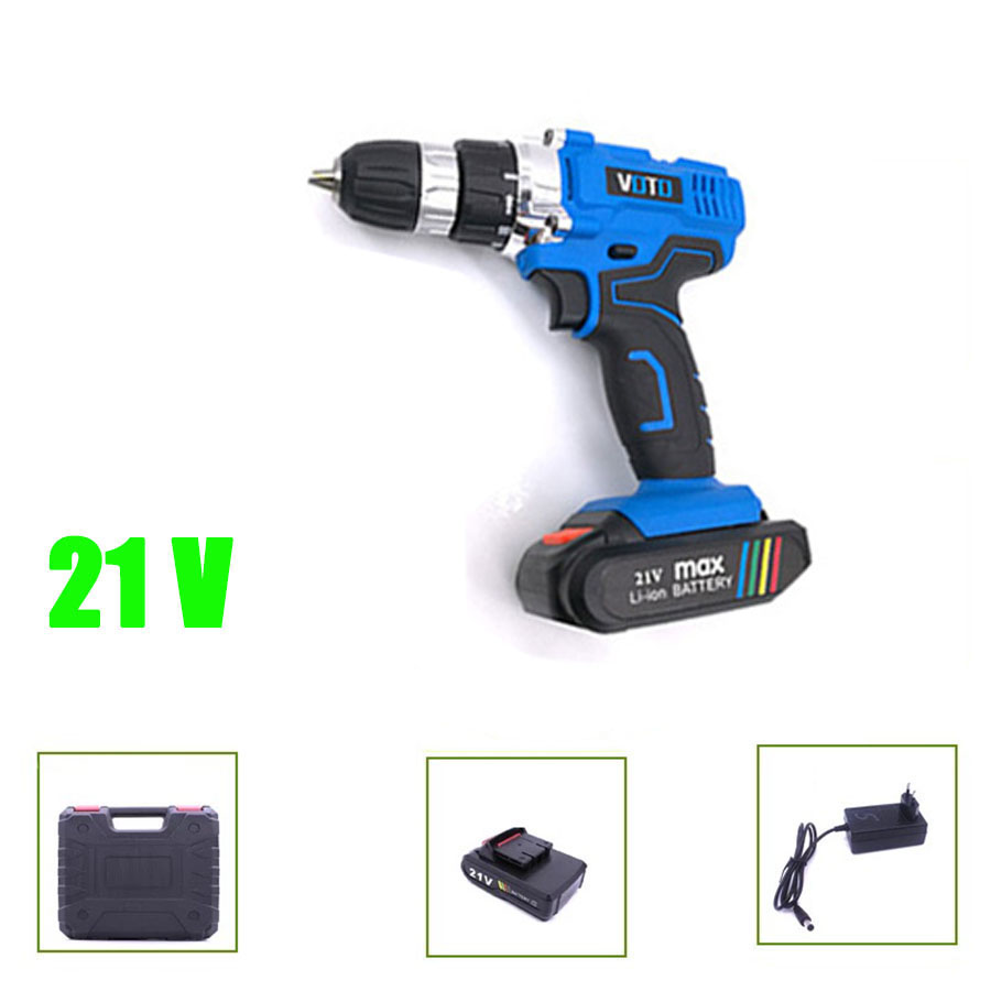 VOTO V6 Battery Rechargeable Cordless Drill Electric Screwdriver Set Lithium Power Tools Screw Gun Driver 21V Blue With Case voto v6 battery rechargeable cordless drill electric screwdriver set lithium power tools screw gun driver 12v 16 8v 21v pink