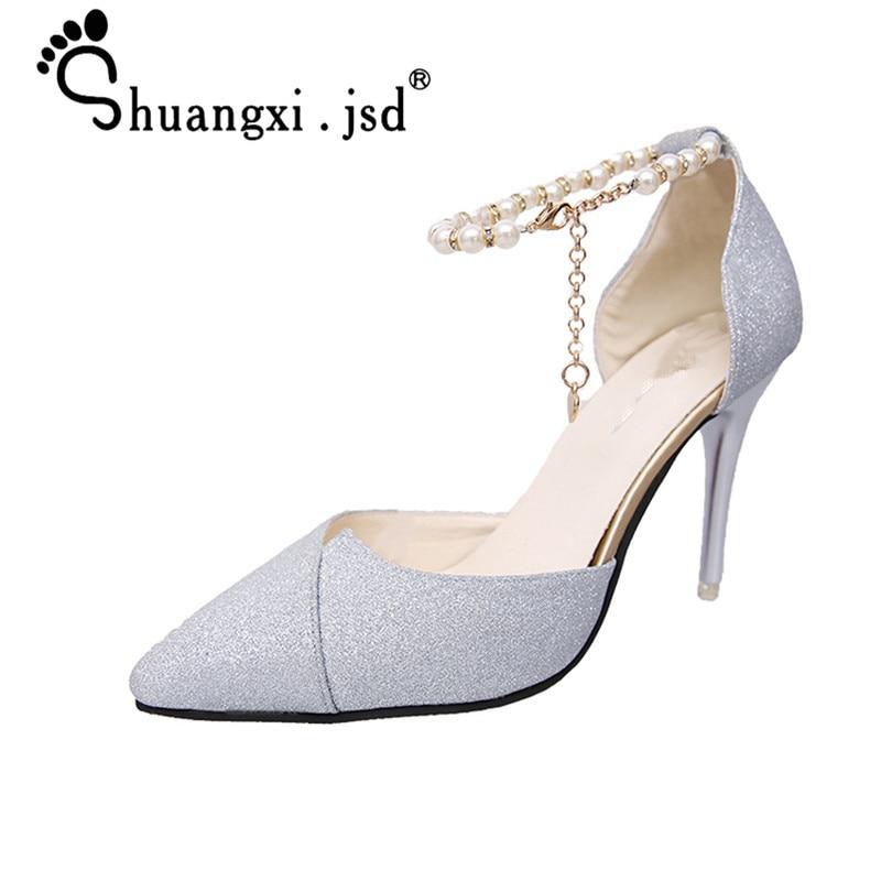 Ženske čevlje 2019 Poletne visoke pete Moda Plitke ustnice visoke 8cm normalne velikosti 34-40 Zapatos Mujer Chaussures Femmes
