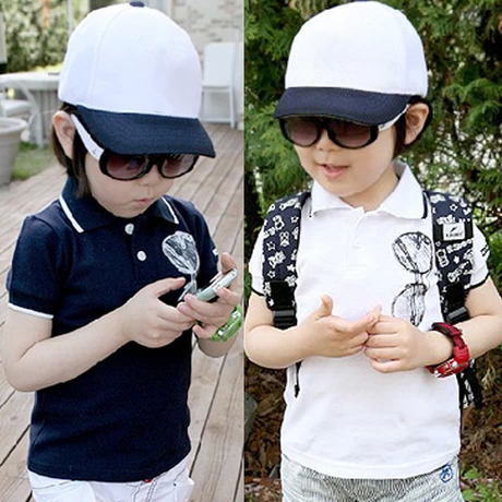 2018 Summer 3 4 5 6 7 8 9 10 Years Old Sunglasses Print Turn-Down Collar For Handsome Kids Boy Gift Sports Short-Sleeve T-Shirt