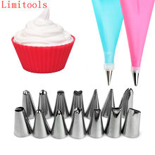 16PCS/SET Silicone DIY Icing Piping Cream Pastry Bags + 14PCS Nozzle Tips Set Cake Decorating Tools Mould + Coupler Converter(China)