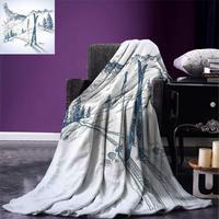 Christmas Blanket Sketchy Graphic of a Downhill with Ski Elements in Snow Relax Calm View Warm Microfiber Blanket Blue White