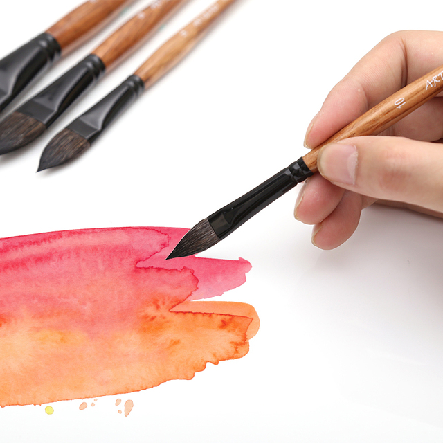 High Quality Oval Squirrel Hair Artist Watercolor Paint Brush  Art Soft Brush Painting Pen for Gouache Wash/Mop Art Supplies 4