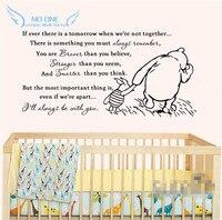 2015 novo vinil clássico Winnie the Pooh se sempre há uma amanhã bebê Quote Wall decalque da parede do berçário adesivos tamanho 101 * 51 cm