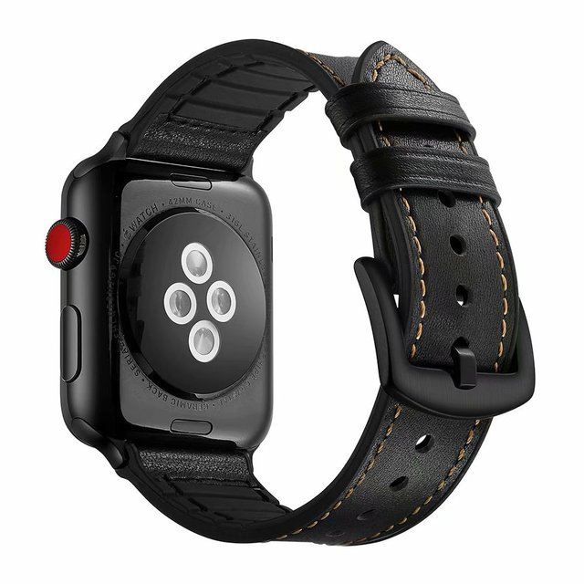Leather rubber Strap For Apple watch 38mm for iwatch series 4/3/2/1 42mm 40mm 44mm Wrist Belt Black Brown Bandseries 5 | Watchbands