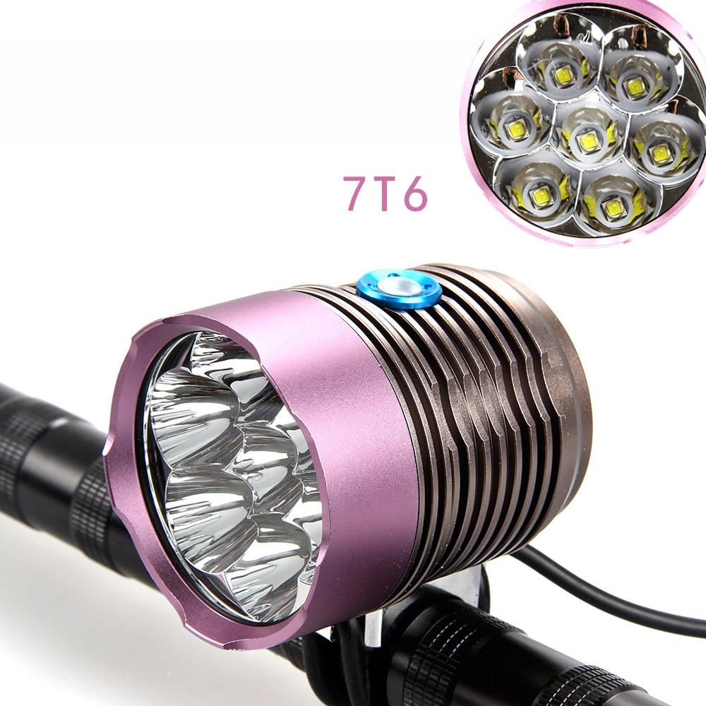 Headlight Bicycle Light + 10000mAh Battery Pack 9000 Lumen 7x CREE XM-L T6 LED Bike Light Lamp Headlamp + 8.4V Charger 6 cree xm l t6 3 modes 8000lm headlight headlamp bicycle light bike light super power 6t6 for bike with battery pack charger