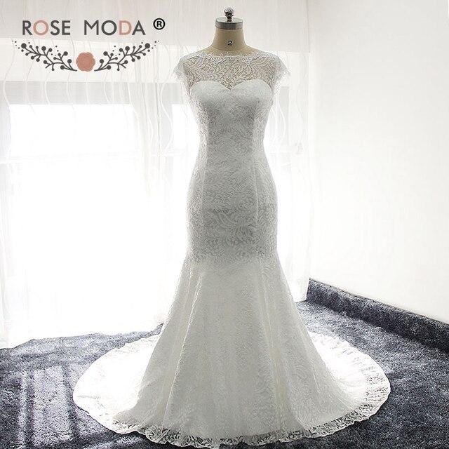 Rose moda chantilly spitze hochzeitskleid mit low v zurück kurze ...