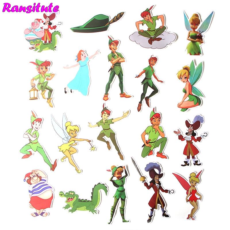 19Pcs/set Peter Pan Waterproof Mobile Phone Car Label Decoration Stationery Stickers DIY Diary Album Toy Stickers R380