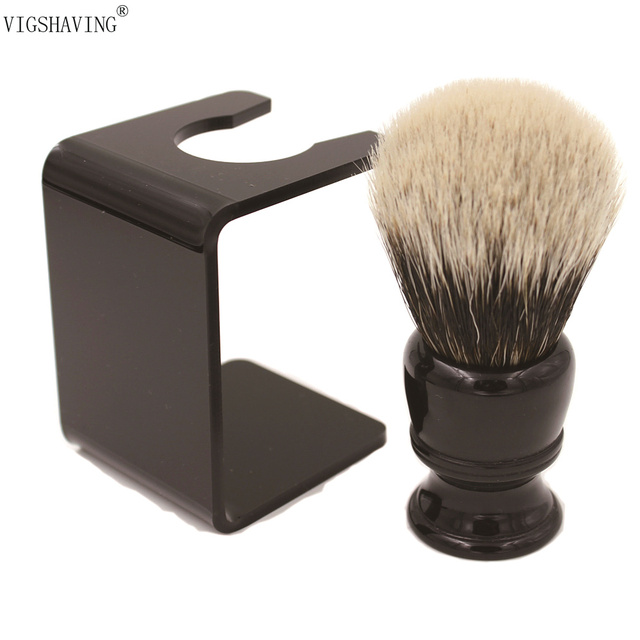 VIGSHAVING  26mm knot Black Resin handle Finest badger Hair Shaving Brush with Free Acrylic Stand