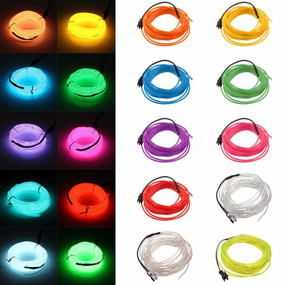 RGB LED DC 12V 1/2/3 / 5M مصباح LED سلك النيون الوهج سلسلة ضوء أنبوب الديكور البرتقالي / الوردي / الأحمر / الأصفر / بولي / الأخضر