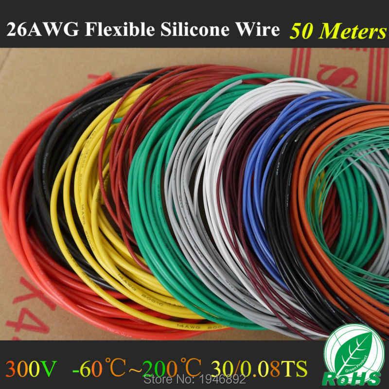 50M 164FT-26 AWG Flexible de silicona de alambre Cable de RC 26AWG 30/0 08TS OD 1,5mm alambre de cobre estañado con 10 colores para seleccionar