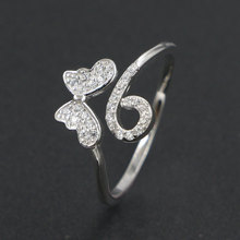 Cute Adjustable Cubic Zirconia 925 Sterling Silver Butterfly Ring Women Wedding Rhodium Plated Jewelry