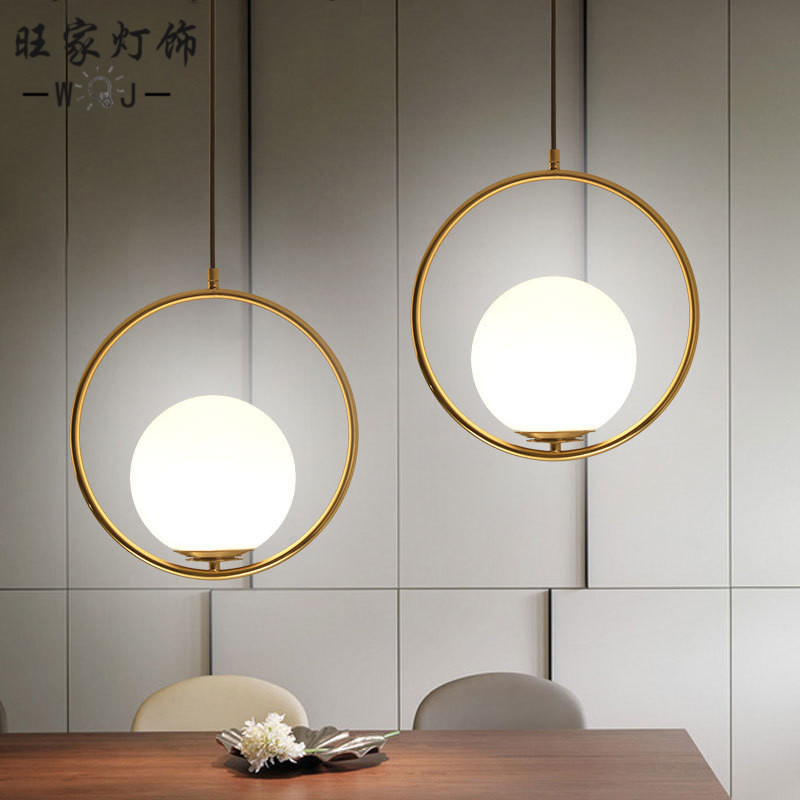 Nordic clothing store chandelier modern simple bedside lamp bedroom art round glass ball table ChandelierNordic clothing store chandelier modern simple bedside lamp bedroom art round glass ball table Chandelier