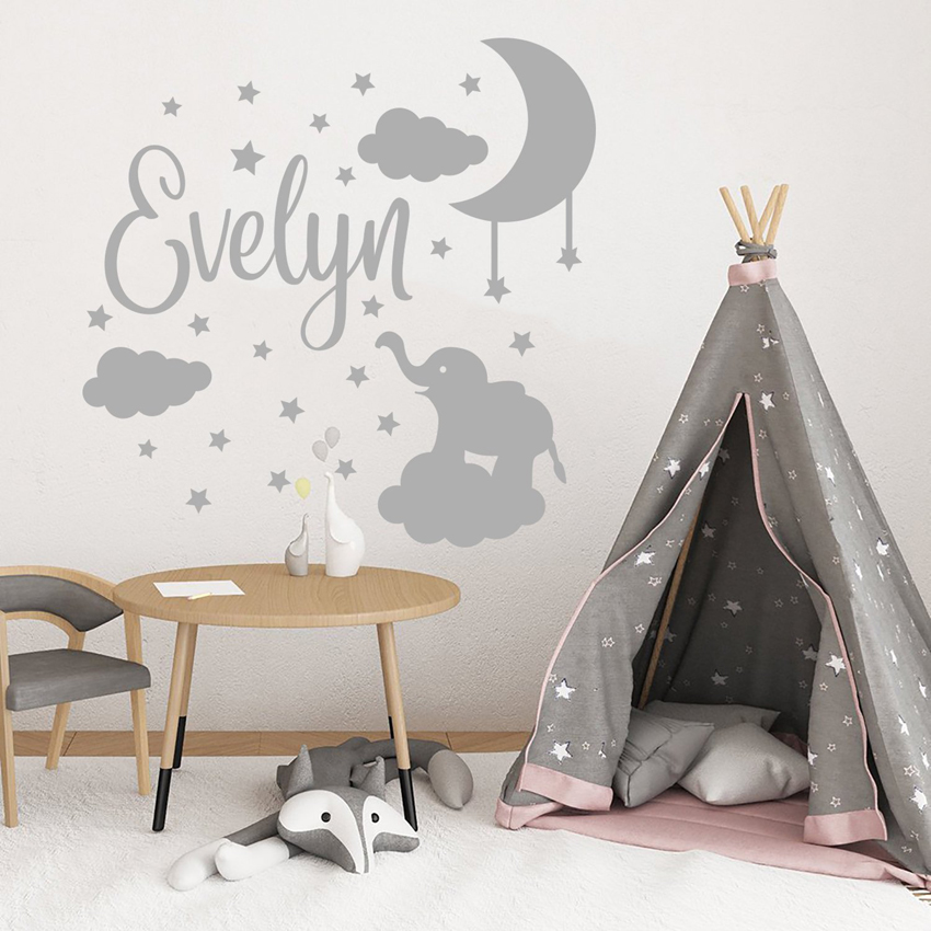 Vinyl Art Design Wall Sticker Cartoon Elephant Stars Baby Room Personalized Name Home Decoration Moon Nursery Kids Decor W567 in Wall Stickers from Home Garden