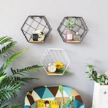 Nordic Metal Grid/stripe Wall Hanging Shelf Rack Hexagon Convenient Storage Rack Holder Geometric Figure Wall Home Decoration