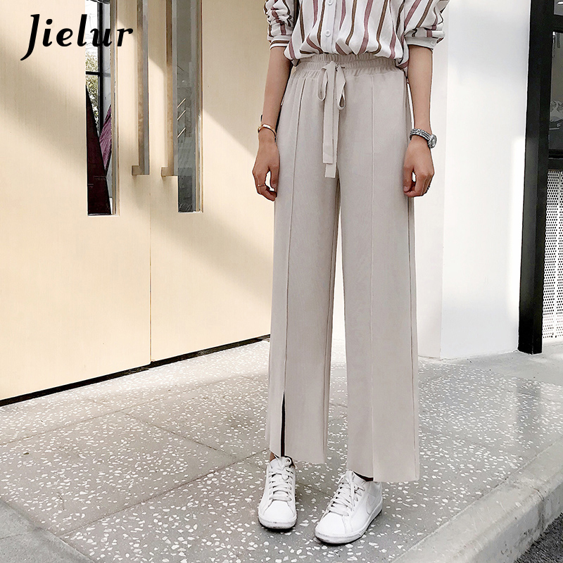 Jielur Summer Knitted Trousers for Women Solid Korean High Waist   Pants   Split Casual   Wide     Leg     Pants   S-2XL Pantalon Femme Dropship