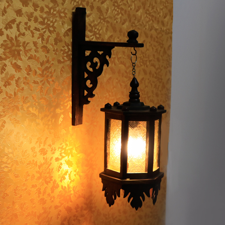 Solid Wood Wall Chandelier Southeast Asia Retro Solid Wood Courtyard Glass Chandelier Hotel Decoration Lamp|Wall Lamps| |  - title=