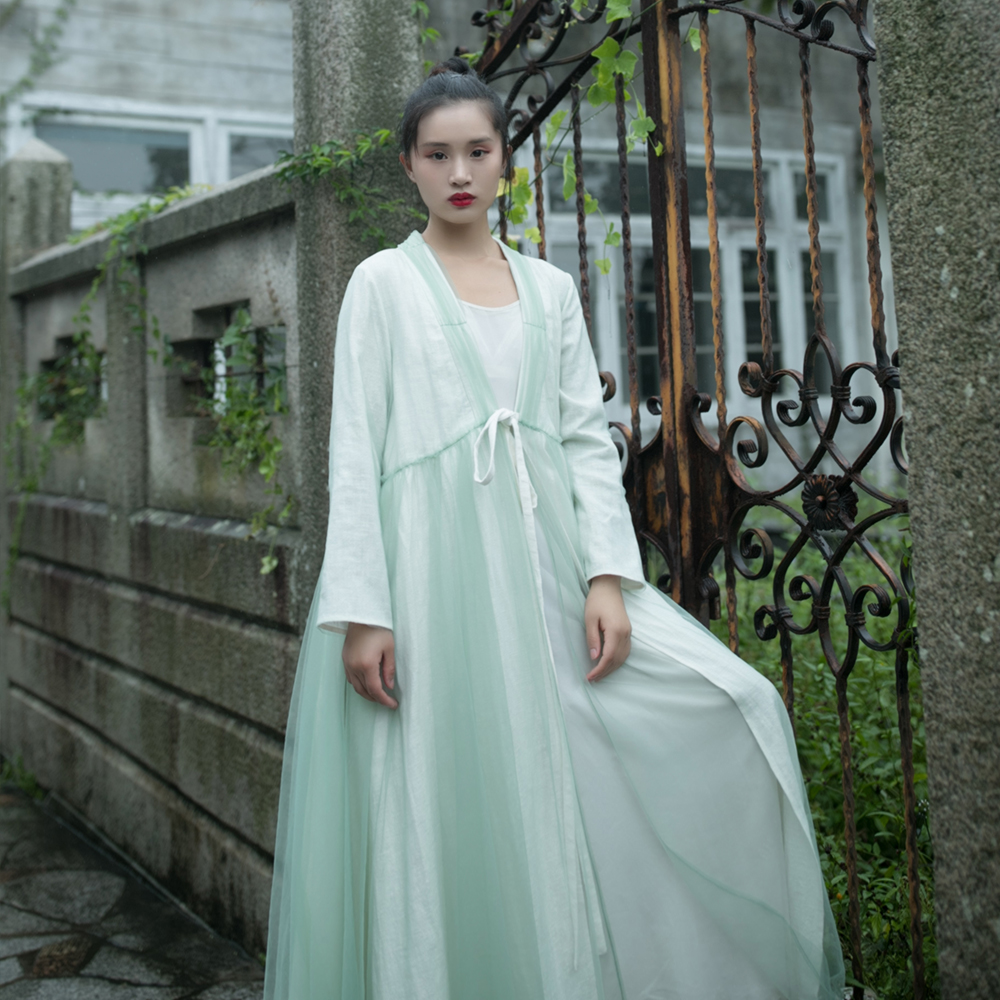 MM203 New Arrival Autumn 2017 chinese style long robe coat vintage tulle skirt type   trench   coat women