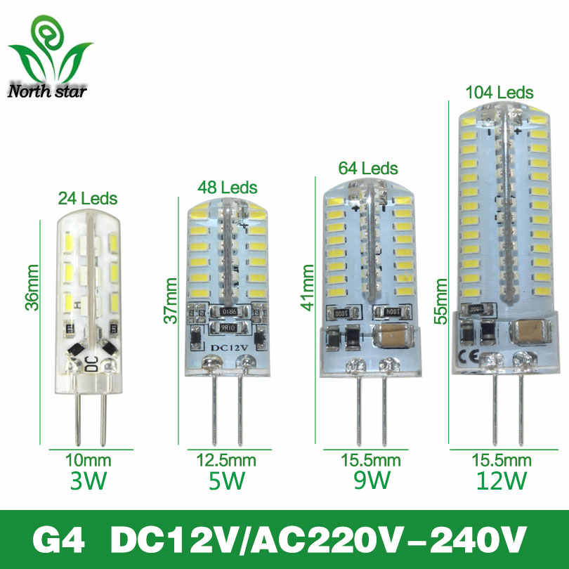 Mejor calidad G4 lámpara de bombilla LED SMD2835 3014 DC12V AC 220V 3W 6W 9W 10W 12W Dimmable Led Licht Dimmbar Kronleuchter Lichter Erset