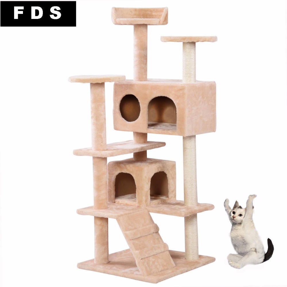 New Cat Tree Tower Condo Furniture Scratch Post Kitty Pet House Play Beige PS5791BE