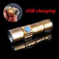 Free Shipping Led High Quality Flashlight USB Charge Strong Light Flashlight MINI Emergency Lighting Fishing Night
