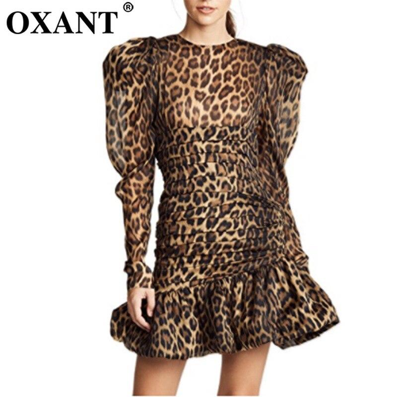 OXANT femmes nouvelle robe plissée imprimé léopard princesse manches Mini robe robe de soirée bureau dame