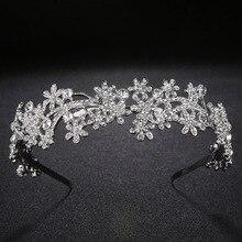 2019 New Fashion Baroque Luxury Crystal AB Bridal Crown Tiaras Light Gold Diadem for Women Bride Wedding Hair Accessories