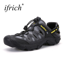 2017 Hot Sell Summer Breathable Hiking Sandals Men Outdoor Sport Sneakers Gray/Army Green Beach Shoes for  Mountain