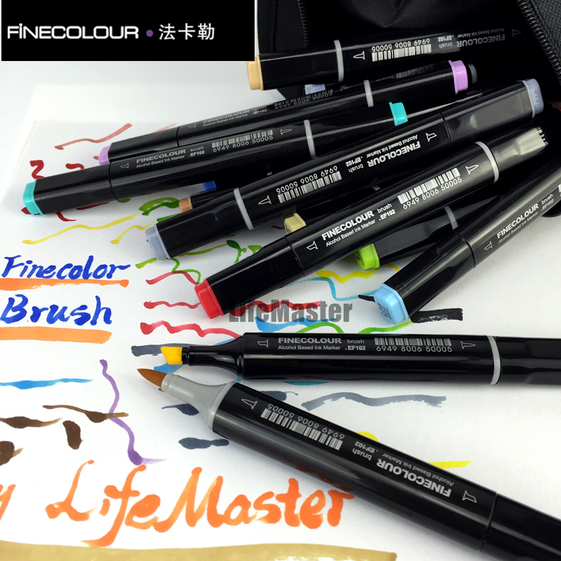 Cheap Substitute for COPIC Finecolor Brush/Oblique Tip Professional Art Marker for Design Twin Markers Alcohol Based Ink EF102