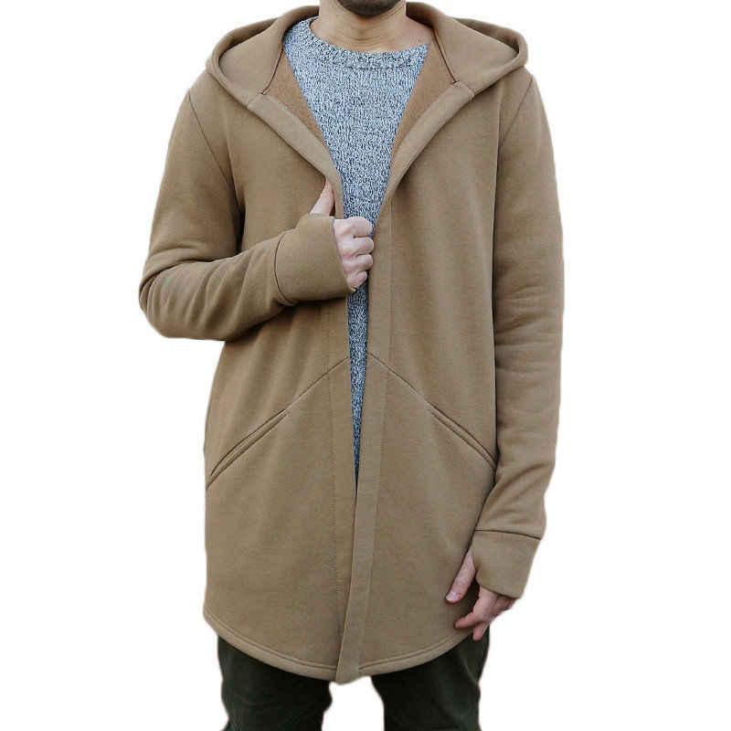 2019 新メンズスタイリッシュフード付きトレンチコート冬秋男性ルーズパーカーロングカーディガンジャケットアウターオーバーコートプラスサイズ