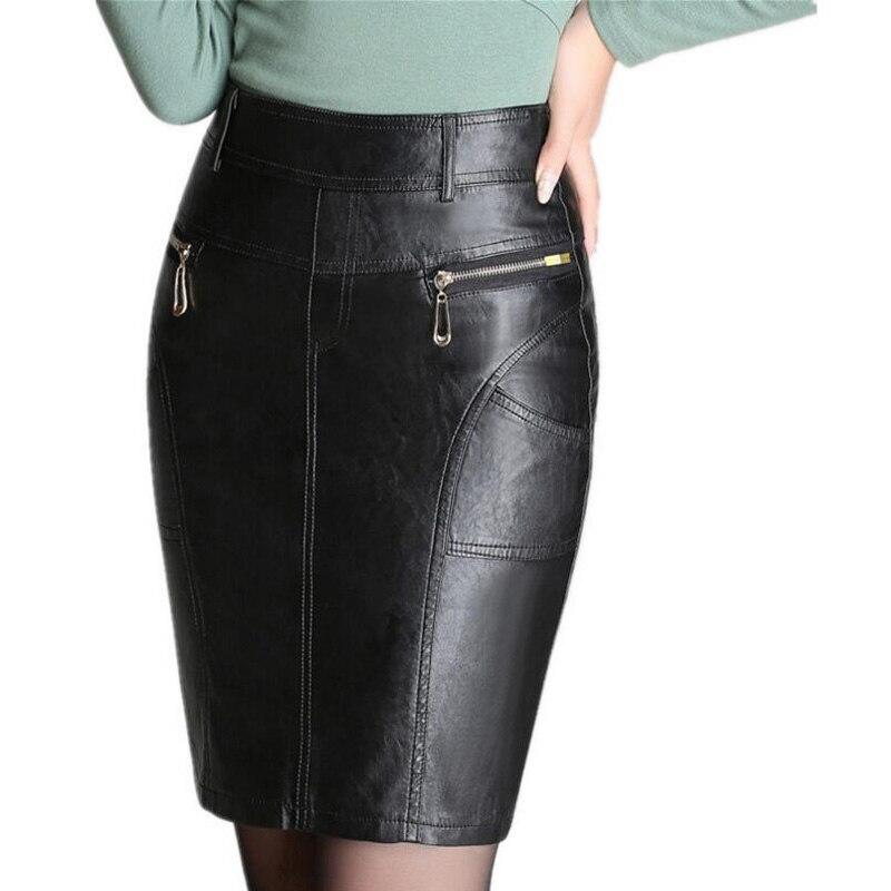 Autumn and winter fashion zipper women's leather skirt slim high waist sexy PU pencil skirt black women's skirt M-4XL