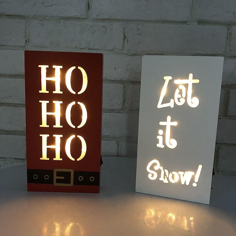 С Рождеством Христовым СИД письмо лампы деревянный каркас, стены Рождество дома украшения стола Indoor свет чехол для Рождество знаковое собы...