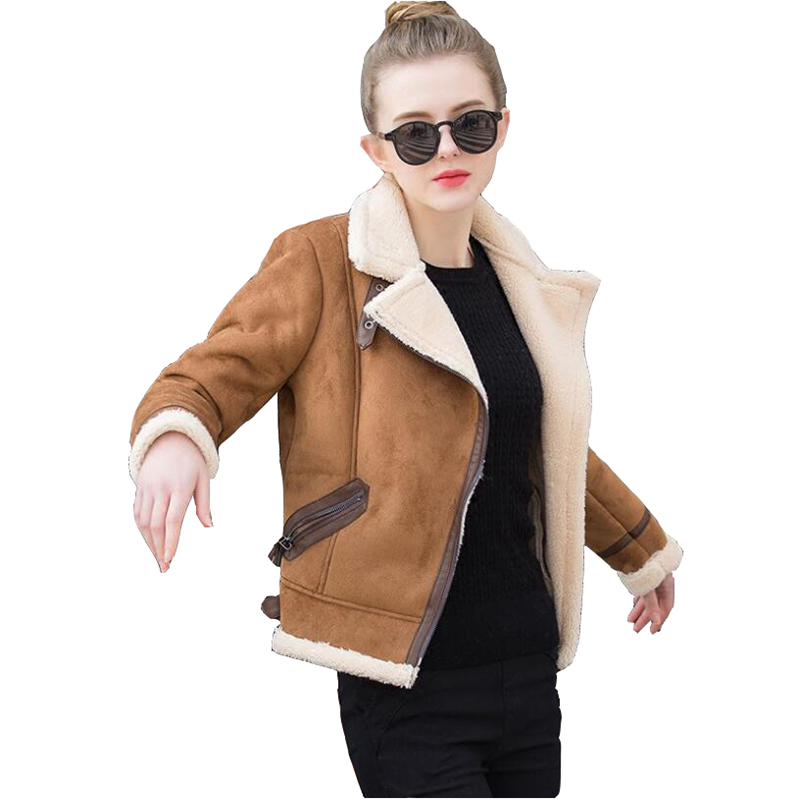 Brown Shearling Sheepskin Coats Women 2019 Autumn Winter Womens Coffee Lambs Wool Short Biker Faux Leather Suede Jackets