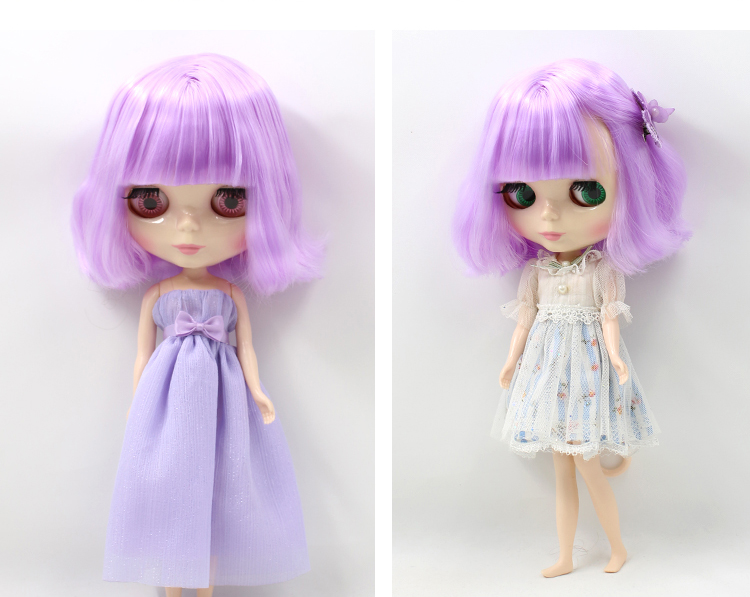 Free shipping Nude Doll Doll PURPLR hair short hair White Skin Suitable For DIY Change Toy For Girls все цены