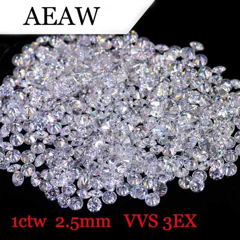 AEAW 2,5 мм всего 1 БКМ карат DF Цвет Сертифицированный Муассанит Diamond Loose бисера Тесты положительный подобный навсегда один