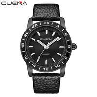 CUENA Watches Quartz Watches Men Fashion Men Casual Checkers Faux Leather Quartz Analog Wrist Watch Quartz