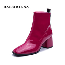 BASSIRIANA 2019 New model boots for women Genuine leather shoes High heel booties Pink lacquered