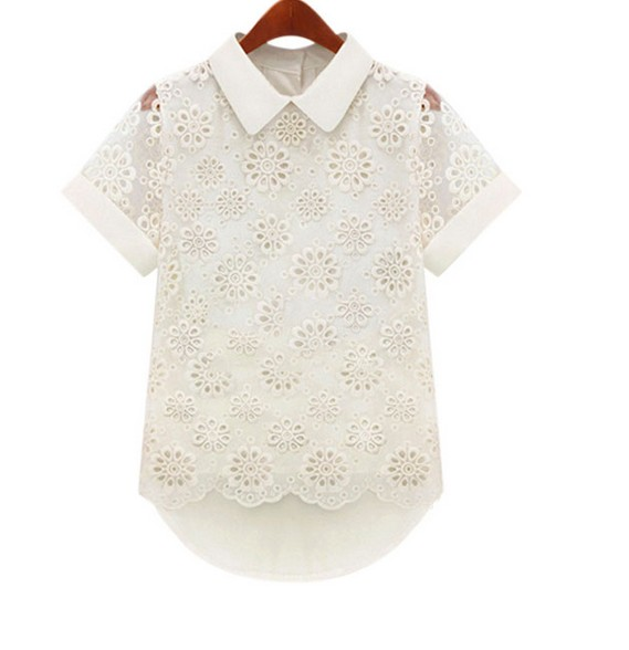 Camisas Blusa Verano Blusas Manga Moda Corta Floral Tops 2016 Nuevas Casual Negro Gasa blanco Encaje Mujeres vwfOcqg5x5