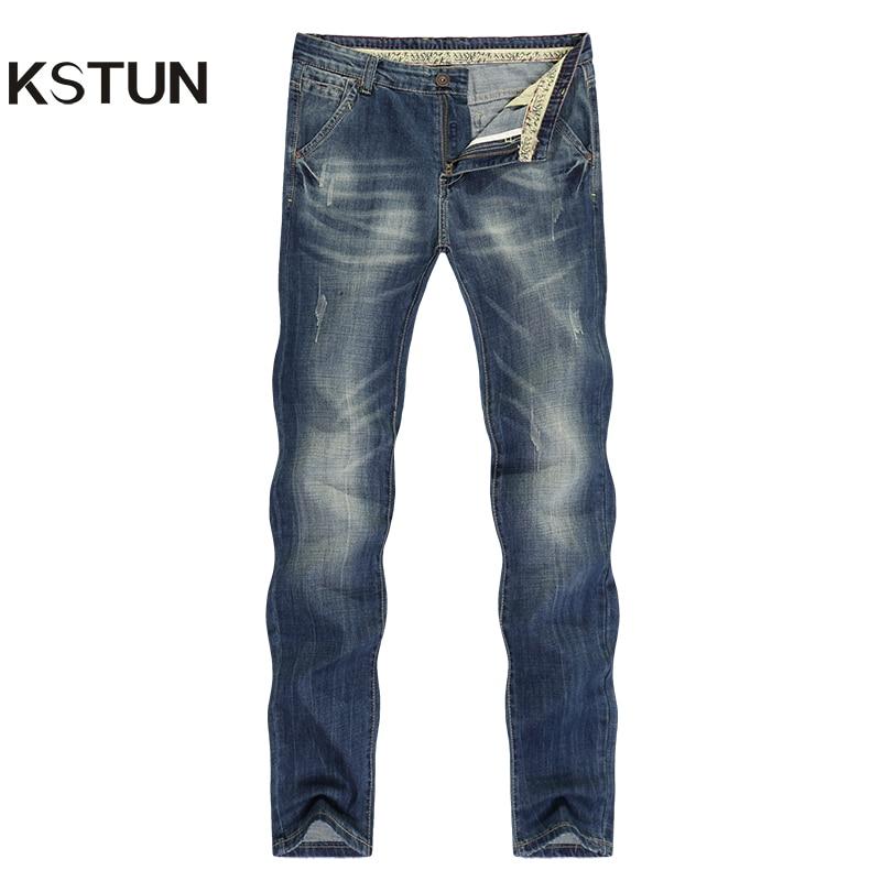 KSTUN Jeans Men Fashion New Summer Thin Cotton Straight Slim Casual Retro Blue Long Trousers Mens Clothes 2019 Denim Jeans Homme